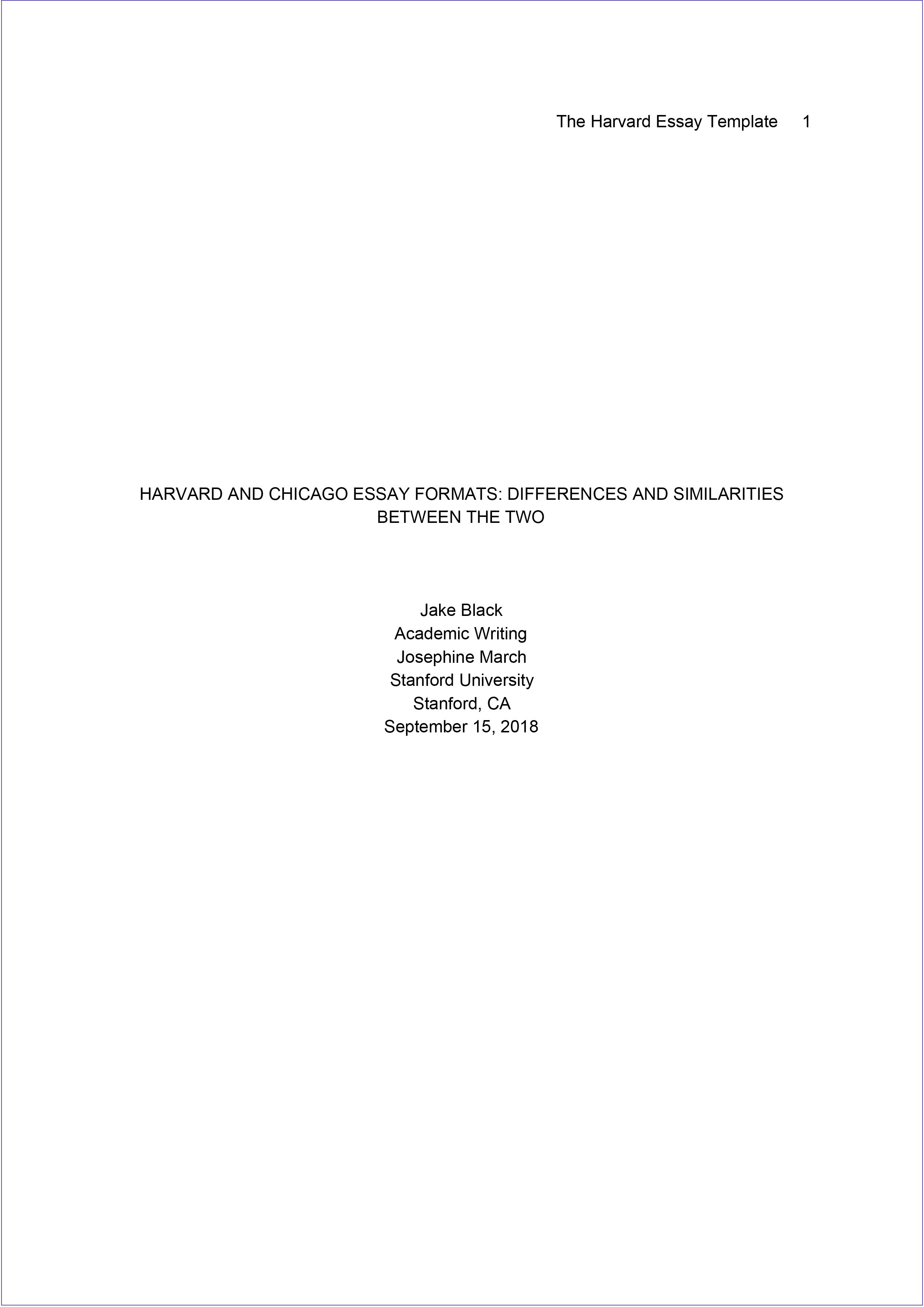 Harvard format cover page